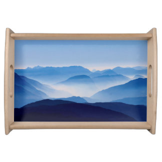 Blue Mountains Meditative Relaxing Landscape Scene Serving Tray