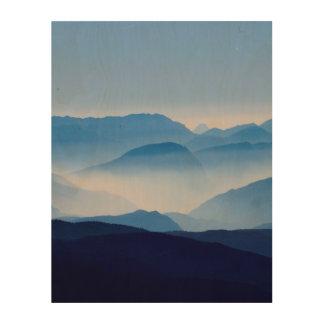 Blue Mountains Meditative Relaxing Landscape Scene Wood Print