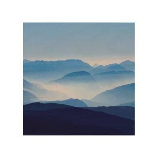 Blue Mountains Meditative Relaxing Landscape Scene Wood Wall Art