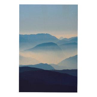 Blue Mountains Meditative Relaxing Landscape Scene Wood Wall Decor