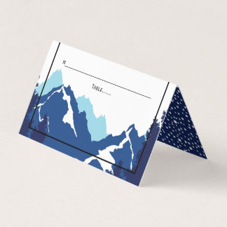 Blue mountains winter wedding folded escort place card