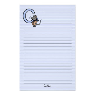 "Blue Mouse Monogrammed ""C"" Lined Stationery"