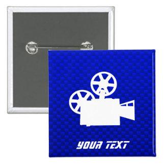 Blue Movie Camera Pinback Button