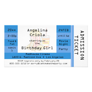 Blue Movie Night Party Admission Ticket Invite Customized Photo Card