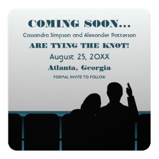 Blue Movie Theater Save the Date 13 Cm X 13 Cm Square Invitation Card
