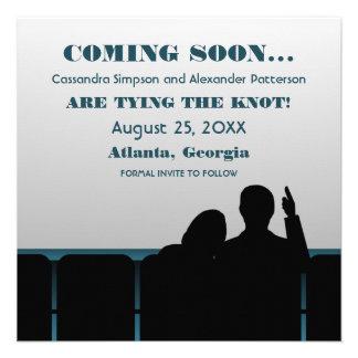 Blue Movie Theater Save the Date Custom Invites
