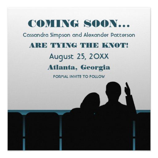Blue Movie Theater Save the Date Custom Invites