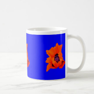 Blue Mug with Orange Poppies by SHARLES