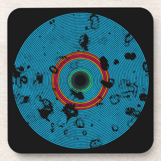 Blue Multicolor Vinyl Disc Texture Pattern Coaster