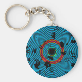 Blue Multicolor Vinyl Disc Texture Pattern Key Ring