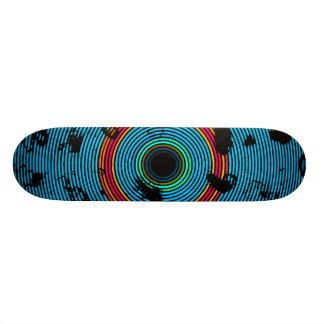 Blue Multicolor Vinyl Disc Texture Pattern Skate Boards