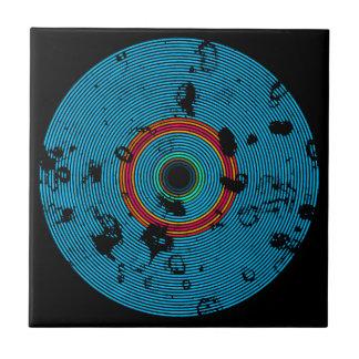 Blue Multicolor Vinyl Disc Texture Pattern Tile