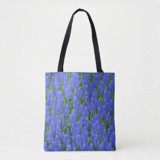 Blue muscari flowers tote bag