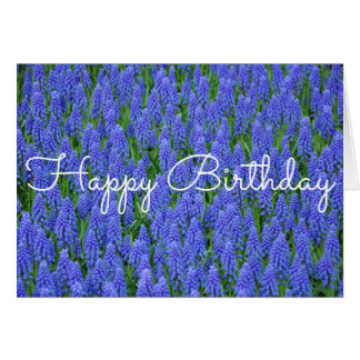 Blue muscari spring flowers card