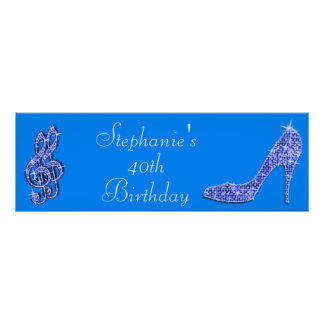 Blue Music Note and Stiletto 40th Birthday Posters