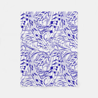BLUE MUSIC NOTES FLEECE BLANKET
