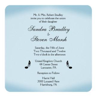 Blue Music Theme Wedding 13 Cm X 13 Cm Square Invitation Card
