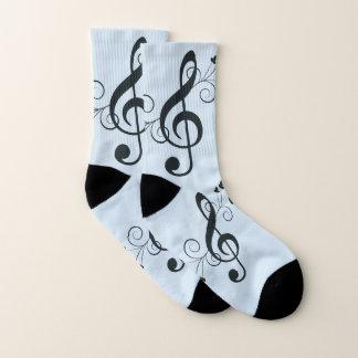 Blue Music Treble Clef Socks 1