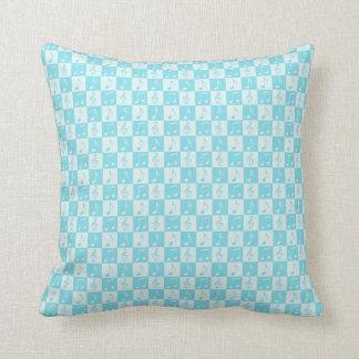 Blue Musical Checker Pattern Throw Cushion