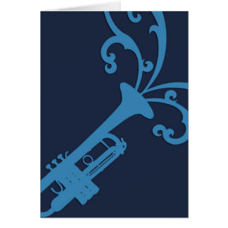 Blue Musical Trombone Card