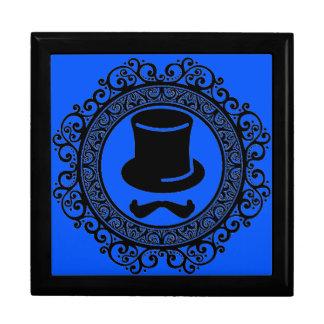 blue mustache hat hipster keepsake box
