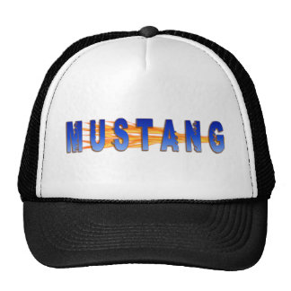 Blue Mustang And Flames Cap
