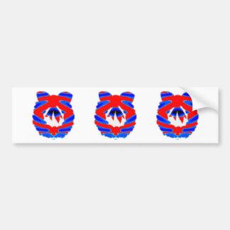 BLUE n RED Diamond Pattern Wreath Bumper Stickers