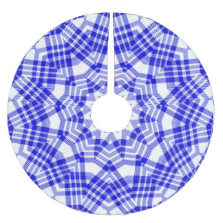 Blue n White Christmas Plaid Brushed Polyester Tree Skirt