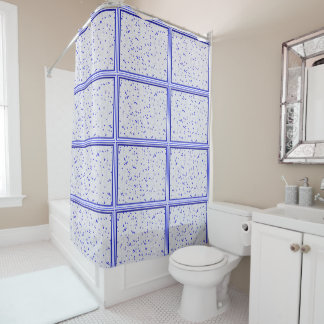 Blue N White Mosaic Shower Curtain