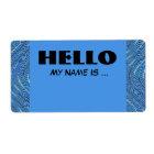 blue name badge