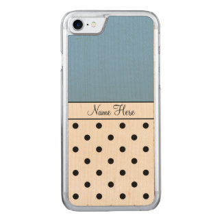 Blue Name, Black Polka Dots Carved iPhone 8/7 Case