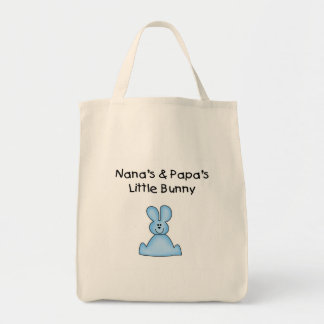 Blue Nana's and Papa's Little Bunny Grocery Tote Bag