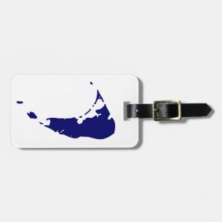Blue Nantucket Island Map Luggage Tag