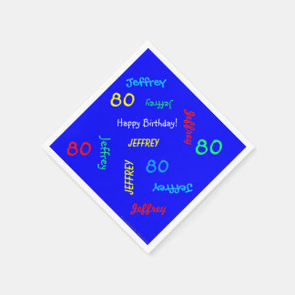 Blue Napkins, 80th Birthday Party Repeating Names Paper Napkin