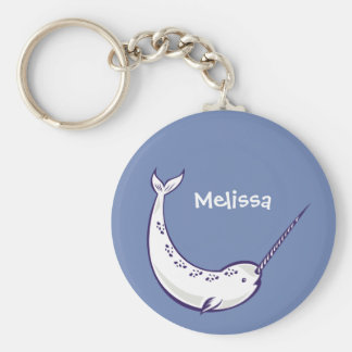 Blue Narwhal Personalized Keychain