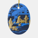 Blue nativity ceramic oval decoration