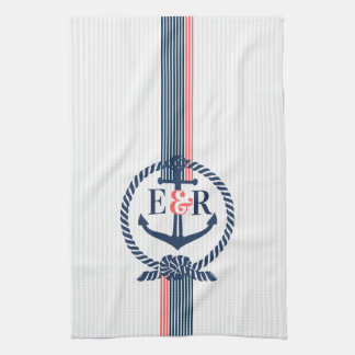 Blue Nautical Anchor Knot & Stripes Monogram Tea Towel