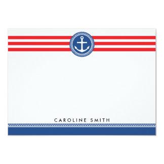 "Blue nautical anchor red stripes flat note card 4.5"" x 6.25"" invitation card"