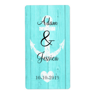 Blue nautical anchor wedding wine bottle labels