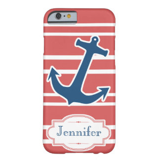 Blue Nautical Anchor with Red Stripes iPhone 6 cas Barely There iPhone 6 Case