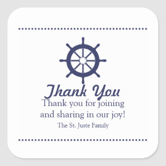 blue nautical BABY SHOWER party favor label 2 Square Sticker