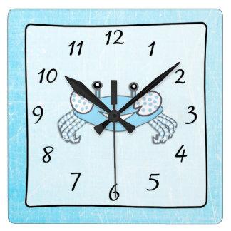 Blue Nautical Beach House Crab Clock