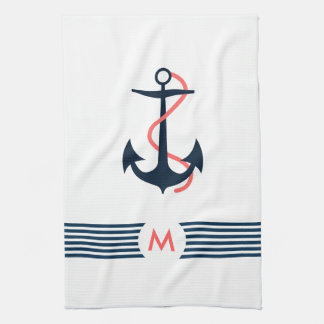 Blue Nautical Boat Anchor Decorative Blue Stripes Tea Towel