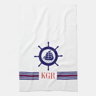 Blue Nautical Boat Wheel Monogram & Stripes Tea Towel