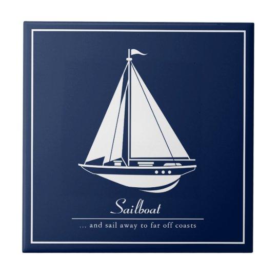 Blue Nautical Ceramic Tile, White Sailboat Ceramic Tile