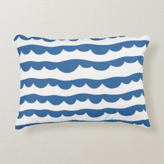 Blue Nautical Scallop Edge Sketch Pattern Decorative Cushion