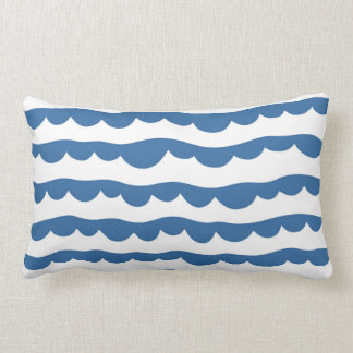 Blue Nautical Scallop Edge Sketch Pattern Lumbar Cushion