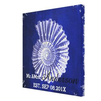 blue nautical seashells coastal wedding mr and mrs gallery wrap canvas
