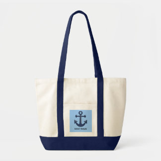 Blue Nautical Ship Anchor Custom Boat Name Tote Bag