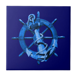 Blue Nautical Ships Wheel And Anchor Ceramic Tile